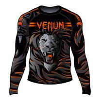 Rash Guard Venum Lion Fire Preto e Laranja -