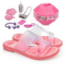 Rasteira Infantil Feminina Tiras Cabedal Com Brinquedo Barbie Surprise 21825 - 23 ao 34 Rosa Vidro -