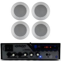 Receiver rc5000 bluetooth 300w + 04 arandelas redonda branca - Orion