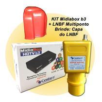 Receptor Digital Midia Box B3 Com Lnbf Multiponto Super Digital - Century Com Capa Protetora -