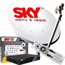 Receptor Sky Pré Pago Hd + Antena de 60 Cm Completa 17 Metros Cabos -