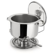 Réchaud Banho Maria Bowl Embutido Aço Inox Tampa de Vidro 8,2 Litros 6 peças Pastilhas Álcool Sólido - Forma