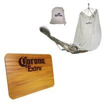 Rede de Descanso Personalizada Corona + Tábua de Madeira Corona Extra 24,5 x 17,5 cm - Ambev
