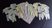 Ref 100.3 - Kit Tam.M Saída Maternidade 21 pçs. Enxoval bebê cores sort. (Macacão, manta, body, etc) - Peteka Baby