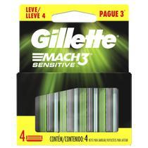 Refil Gillette Mach 3 Sensitive Carga Mach3 C/ 4 Cartuchos -