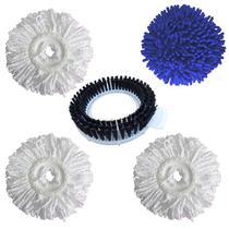 Refil Mop Microfibra + Refil Seco Mop Limpeza Rápida Pó + Refil Escovão - Kit de 5 Peças - Perfect Mop - Vendasshop utensilios de limpeza