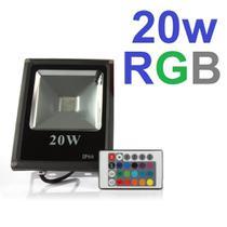 Refletor 20w Rgb Led Colorido Ip66 Holofote Bivolt - Wd