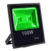 Refletor Holofote Led 100w Slim Verde IP65 - Iluminação Residencial Jardim Piscina Loja - Importado
