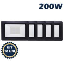 Refletor holofote led smd 200w 6500k(branco frio)bivolt ip66 kit10 - Max