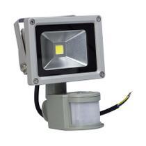 Refletor Led 10w c/ Sensor de Presença Branco Frio Iluminação Residencial - Importado