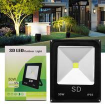 Refletor Led 50W Holofote Slim Bivolt IP66 6000K Luz Branca Resistente Água Jardim Fachada Casa - Prime