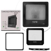 Refletor Led Holofote 50W Smd Bivolt IP66 Resistente Água Ferro Jardim Fachada Reposição Preto - Prime