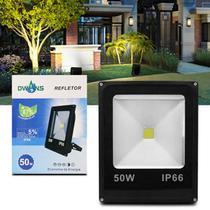 Refletor Led Holofote Smd Slim 50W Bivolt IP66 6000K Branco Frio Resistente Água Jardim Fachada Casa - Prime