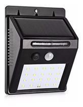 Refletor Luminária Placa Solar 30 Led Parede Jardim Piscina Sensor Movimento Presença Externo Resistente Sol e Chuva -