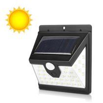 Refletor Luminária Placa Solar 40 Led Parede Jardim Piscina Sensor Movimento Presença Externo Resistente Sol e Chuva -
