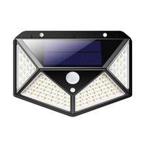 Refletor Luminária Solar Led Parede Muro Sensor Presença Movimento 100 Leds 3 Modos -
