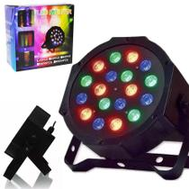 Refletor Mini 18 Leds Canhao Display Digital RGB Strobo Iluminacao Bivolt Festas Luz (Led Mini Par 18 pcs) - Ideal