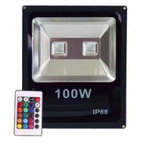 Refletor RGB 100w Led Holofote Bivolt  Slim Ip66 - Wd