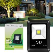 Refletor Sd Led Holofote Slim 20W Bivolt IP66 6000K Branco Frio Resistente Água Jardim Fachada Casa - Prime