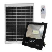 Refletor Solar Led 50w Painel Celula Bateria Recarregável Placa Controle Remoto - Ye