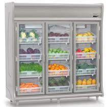 Refrigerador Vertical Hortifrutícula GEHF-3P CZ Cinza Gelopar 3 Portas Frost Free 1490 Litros -
