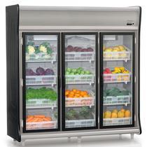 Refrigerador Vertical Hortifrutícula GEHF-3P PR Preto Gelopar 3 Portas Frost Free 1490 Litros -