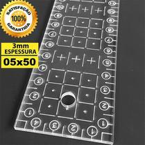 Régua Corte 05x50cm Gravada A Laser Patchwork Cartonagem. - Tudo Costura