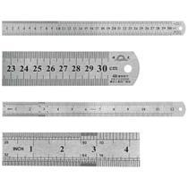 "Régua de Aço Inoxidável 30 cm / 12"" x 1.1/8"" - Brasfort -"