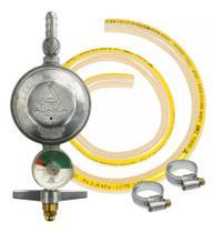 Regulador Registro Gás Visor Medidor Aliança 504 mangueira e abraçadeiras -