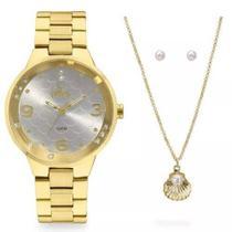 Relógio Allora Feminino AL2035FHT/K4K + Colar e Brincos -