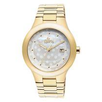 Relógio allora feminino dourado com calendário pulseira em aço inox - al2115aa/4b -