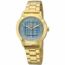Relógio allora feminino xadrez azul dourado ref. al2035fbq/4a -