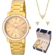 Relógio allora kit feminino com semijóia al2035fkf/k4x -