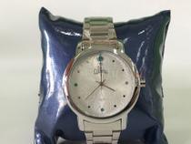Relógio Allora Prateado C/ Pedrinhas Verde 5atm 130005 -