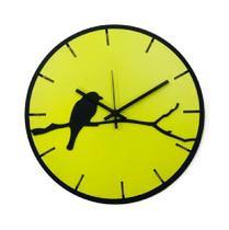 Relógio Amarelo com passarinho decoração Sala Cozinha - Az Design