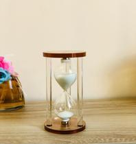 Relógio ampulheta de vidro artesanal 15x8cm - Mefi