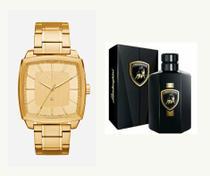 Relógio armani masculino dourado + perfume lamborghini 100ml -