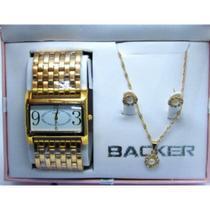 Relogio backer dourado feminino com semijóia 36190044 br -