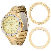 Relógio backer feminino 3312145f dourado troca aro -