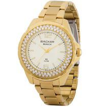 Relógio backer feminino 3341145fch dourado com cristais -