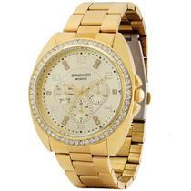 Relógio backer feminino dourado cristais aço 3419545f ch -