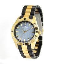 Relógio backer feminino preto com dourado cristais 3972134f -