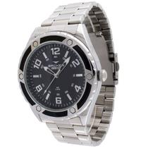 Relógio backer  masculino prata em aço 6436123m pr -