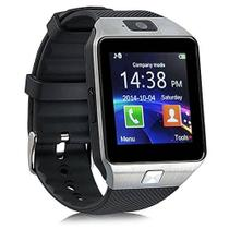 51c67621414 Relógio Bluetooth Smartwatch Dz09 Touch Preto E Prata