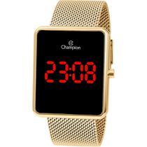 Relógio Champion Digital CH40080V Dourado  Digital 3 Atm Cristal Mineral Tamanho Grande -