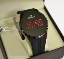 Relogio champion digital preto led vermelho silicone ch40277d -