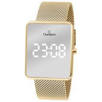 Relógio Champion Dourado Espelhado CH40080B LED Branco Pulseira Esteira -
