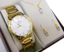 Relógio Champion Dourado Feminino + Colar E Brincos -