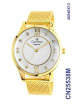 Relógio Champion Elegance CN25538M Quartz pulseira aço Mesh Dourado -