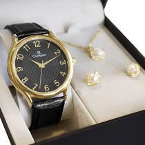 Relógio Champion Feminino Analógico Couro CH22706K + Kit Colar e Brincos -